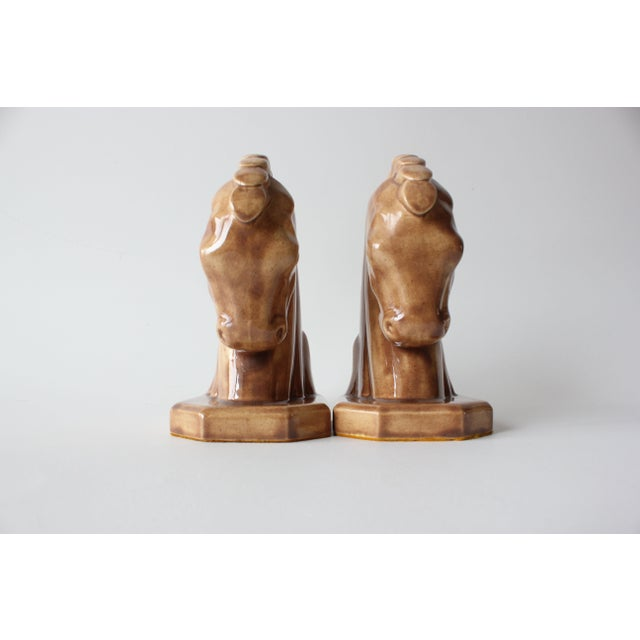 Caramel Ceramic Horse Head Bookends - A Pair - Image 6 of 6