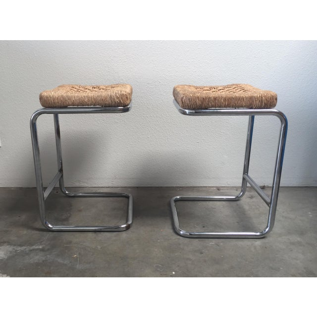 Image of Vintage 1970's Chrome Stools - A Pair