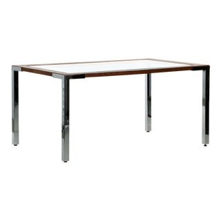 Minimalist Modern Chrome, Oak and Glass Dining Table, 20th Century