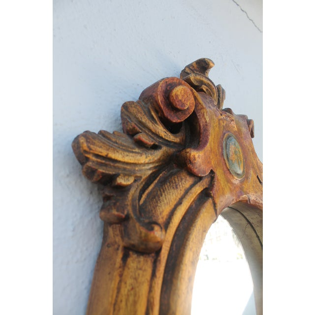 Antique Hand Carved Solid Wood Wall Mirror - Image 5 of 8