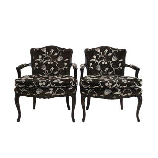 Louis XV Crewel Upholstered Bergers - A Pair