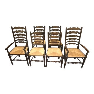 Ladder Back Rush Seat Dining Chairs - Set of 6