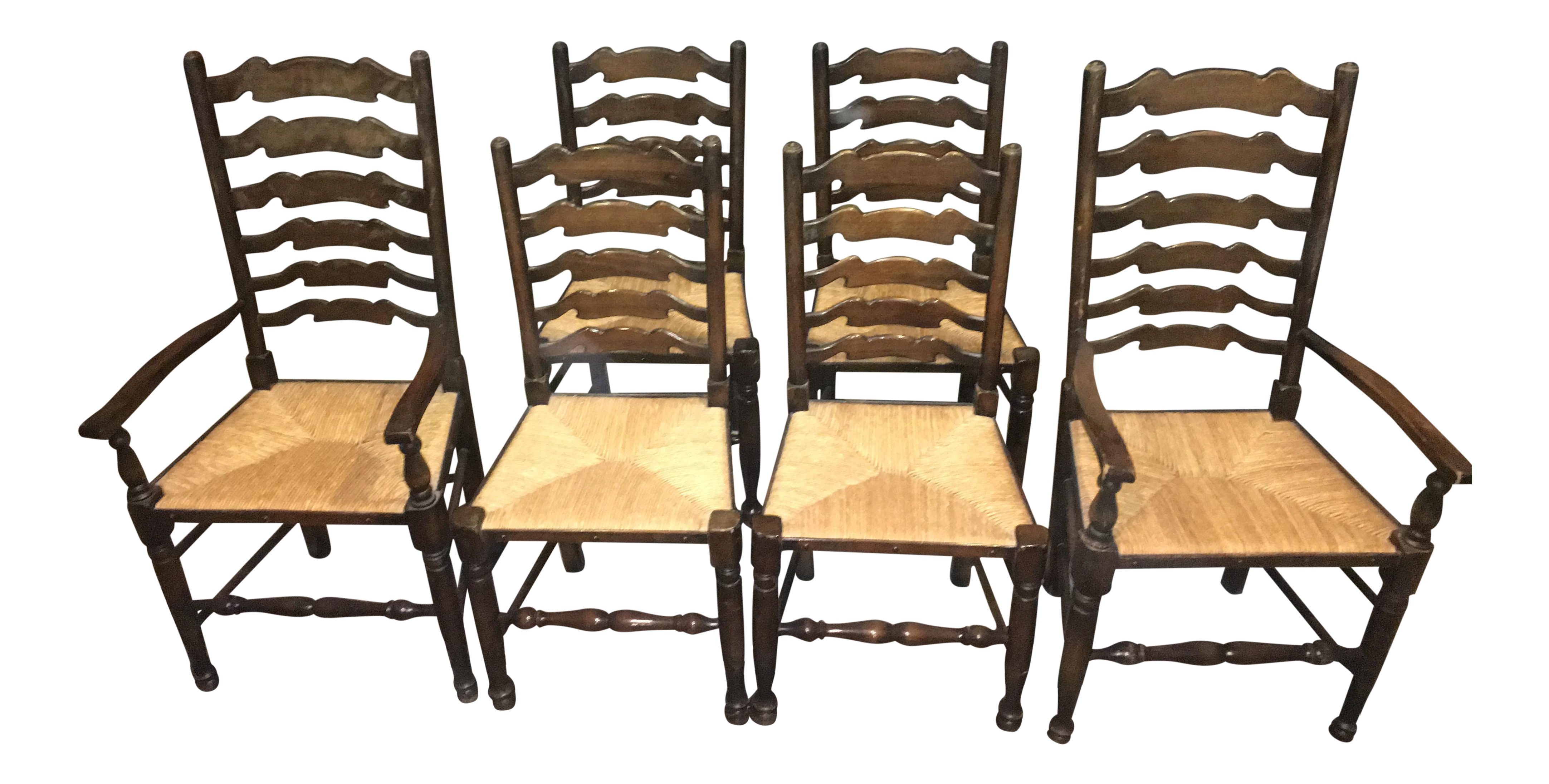 ladder back rush seat dining chairs set of 6