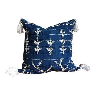 "Indigo Embroidered Pillow - 20"" x 20"""