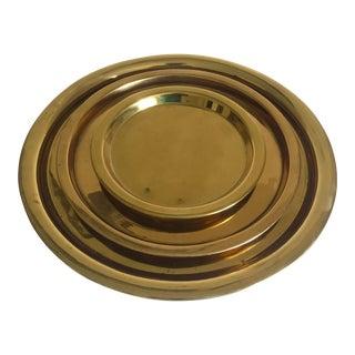 Vintage Mid Century Moroccan Brass Handmade Nesting Round Tea Serving Trays - Set of 3