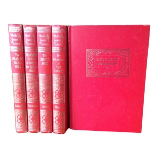 Mid-Century Decorative Red & Gold Classic Books - Set of 5