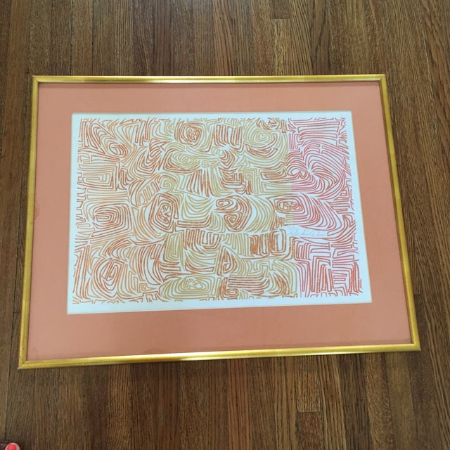 Original Abstract Lithograph in Gold Frame - Image 2 of 7