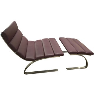 Decca Purple Vinyl Lounge Chair & Ottoman
