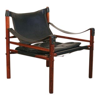 Vintage Arne Norell Swedish Rosewood Safari Chair