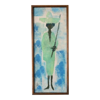 Mid Century Modern Woman With Sword Painting