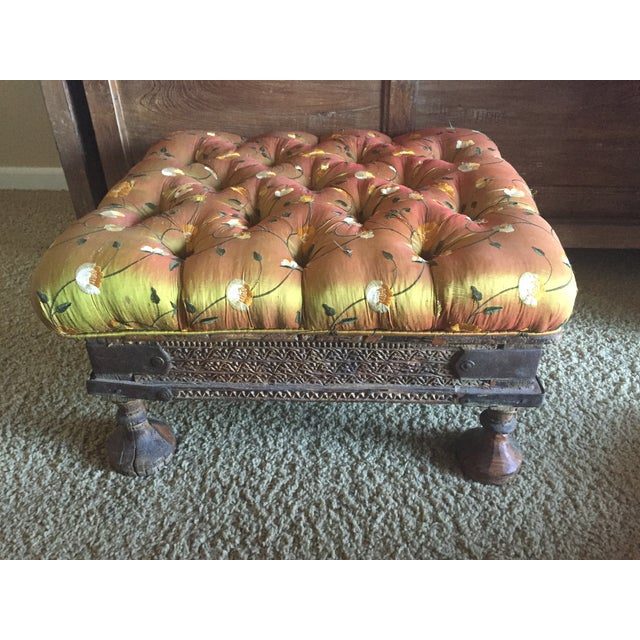 Orange Embroidered Handcarved Ottoman Stool - Image 5 of 11