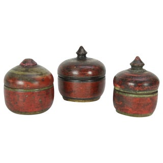 Vintage Polychrome Tikka Boxes - Set of 3