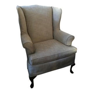 Linen Blend Slip Cover Wing Chair