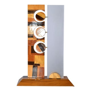 Wooden Element Sculpture with Lucite