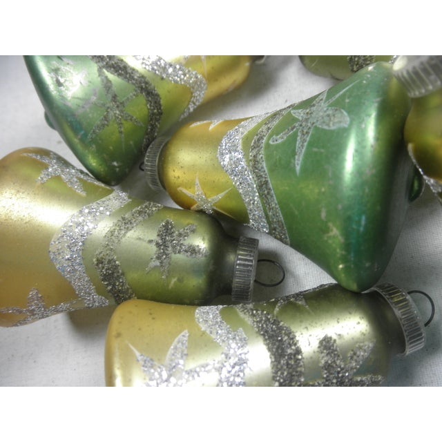 Image of West German Glitter Bell Ornaments - Set of 6