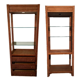 Henry Link for Lexington Wicker Etageres - A Pair