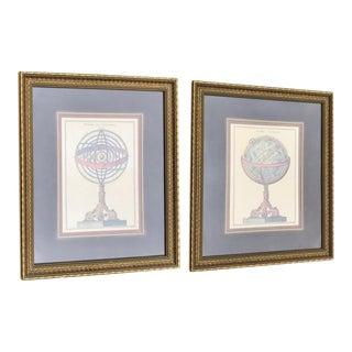 Globe & Armillary Sphere Framed Painting Print - A Pair