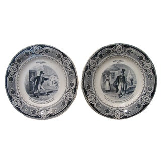Antique French Creil & Montereau Plates - A Pair