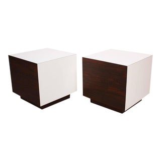 Diminutive Rosewood and Laminate Cube End Tables