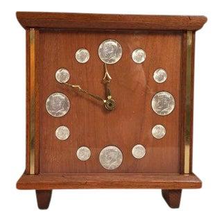 Mid-Century Teak & Brass Clock