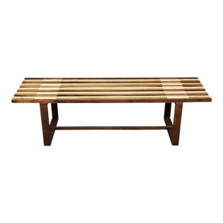 Mid-Century Modern Solid Wood Bench