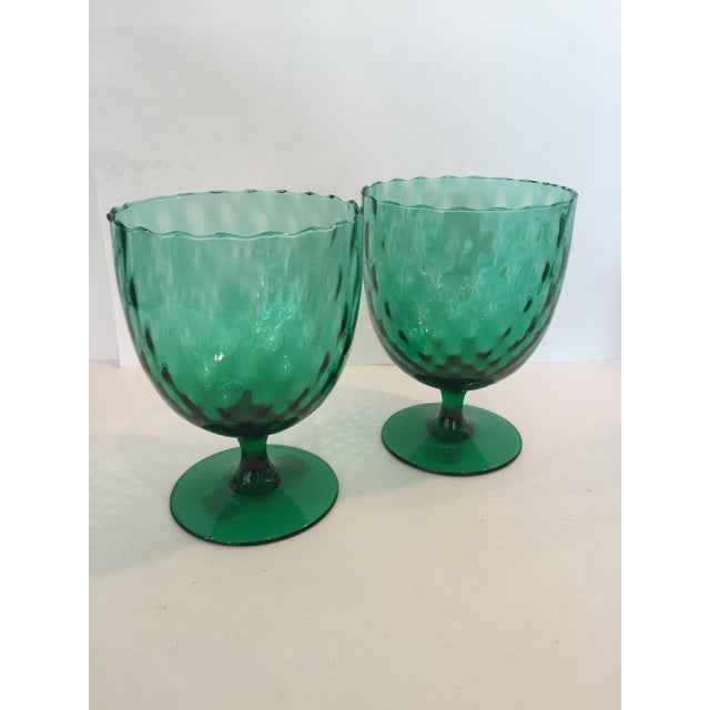 Image of Emerald Green Goblets - A Pair