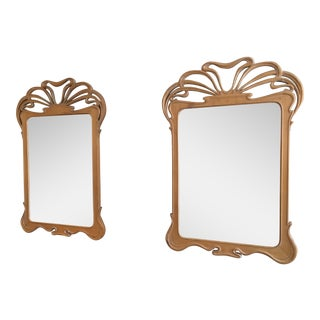 Art Nouveau Carved Wood Mirrors - A Pair