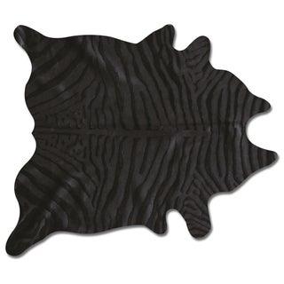 Zebra Black/Black Cowhide Rug - 6′ × 7′