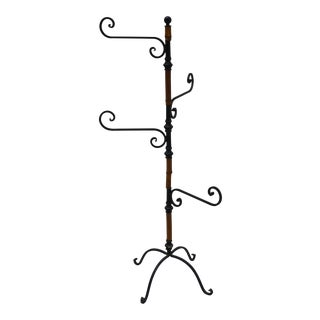 Black Iron & Bamboo Hat or Towel Rack