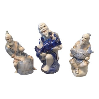 Chinoiserie Asian Man Fisherman Figurines - Set of 3
