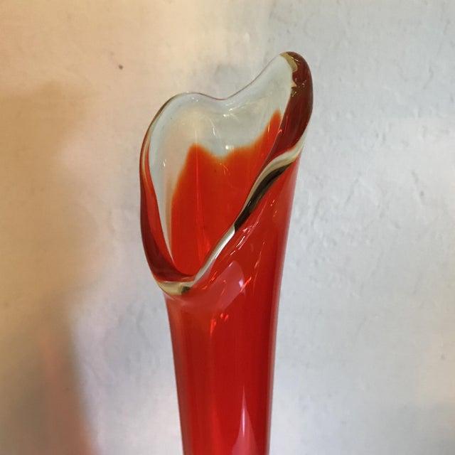 Vintage Fenton Style Orange Stretch Glass Vase - Image 4 of 8