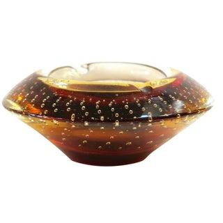 Amber Bubble Glass Ashtray