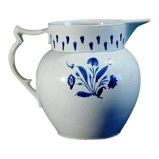 English Pearlware Pottery Blue and White Jug