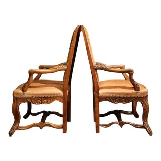 French Leather & Needlepoint Armchairs - A Pair
