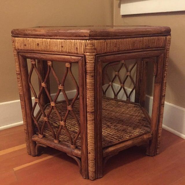 Boho Woven Rattan Side Table - Image 2 of 7