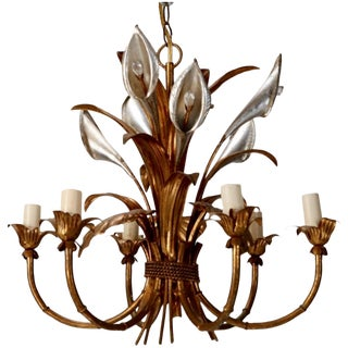 1940's Italian Six Light Tole Chandelier With Calla Lilies and Crystals