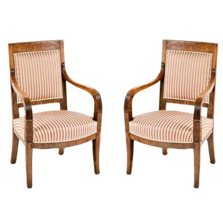 Italian Empire Walnut Chairs - A Pair
