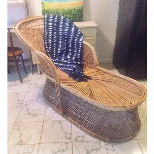 on hold vintage mid century rattan wicker peacock chair. Black Bedroom Furniture Sets. Home Design Ideas