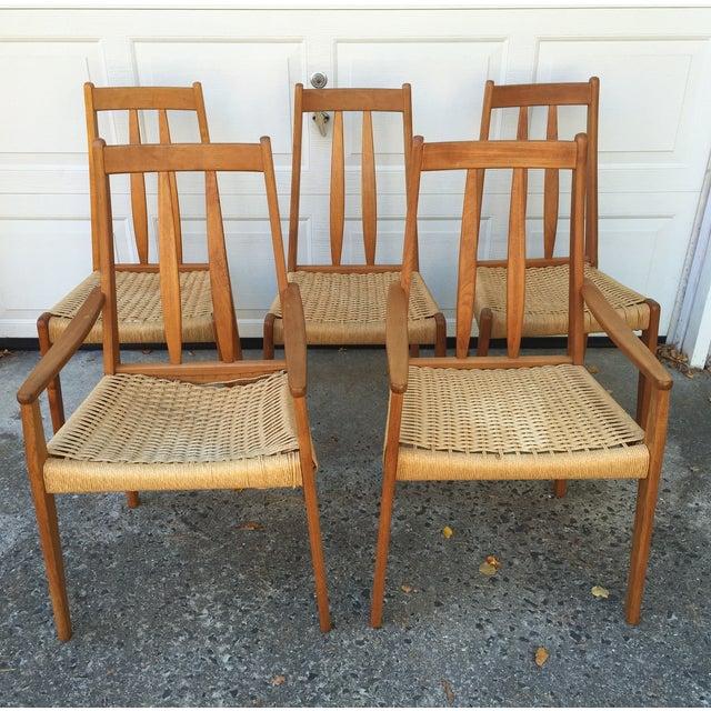 Danish Teak Dining Chairs W/Rope Seats - Set of 5 - Image 2 of 9