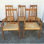 Image of Danish Teak Dining Chairs W/Rope Seats - Set of 5