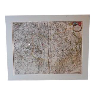 """Antique Map """"Diocese De Rheims,"""" 1645"""
