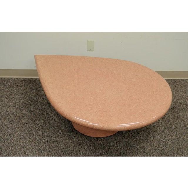 Vintage Mid-Century Modern Hollywood Regency Pink Tear Rain Drop Coffee Table - Image 8 of 11