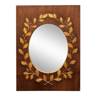 English Gilded Oak Leaf Wreath Mirror with Oval Glass from the Late 19th Century