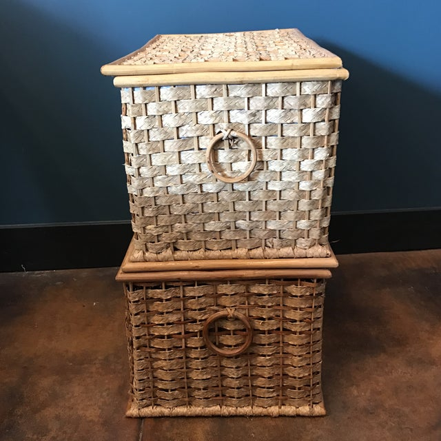 Woven Grass Trunks - A Pair - Image 4 of 6