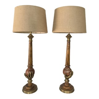 Chapman Brass Hand Table Lamps - A Pair
