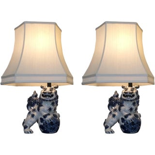 Blue and White Foo Dog Table Lamps - Pair