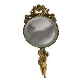Vintage Goldtone Cherub Hand Mirror