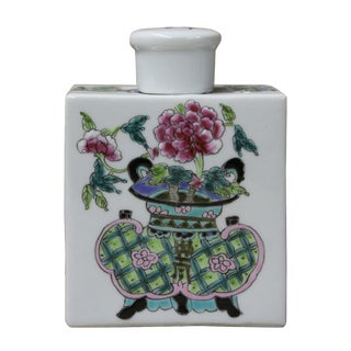Chinese Colorful Flower Porcelain Tea Jar