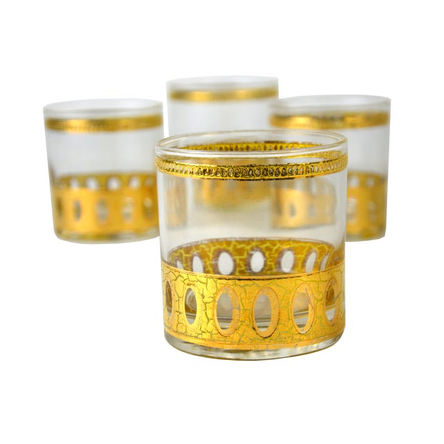 Image of Vintage Gold Cocktail Glasses - Set/4