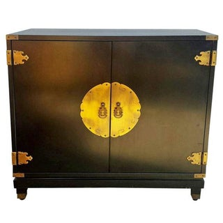 Black Mid-Century Asian Ming Style Cabinet